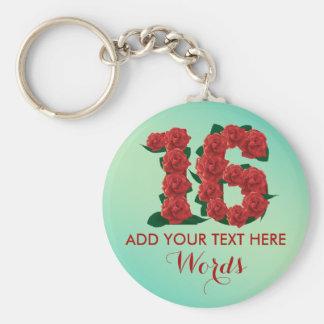 16ème porte - clé personnalisé d'anniversaire de porte-clés