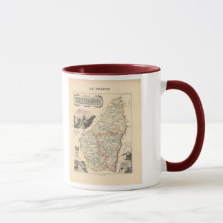 1858 carte de département d'Ardeche, France Mug