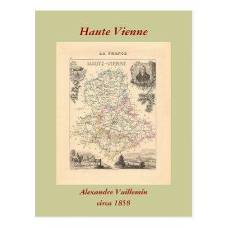 1858 carte de département de Haute Vienne, France