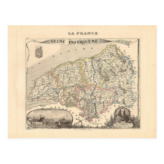 1858 carte de département de la Seine Inferieure,