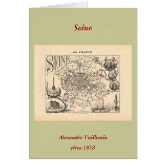 1858 carte de département de la Seine, Paris