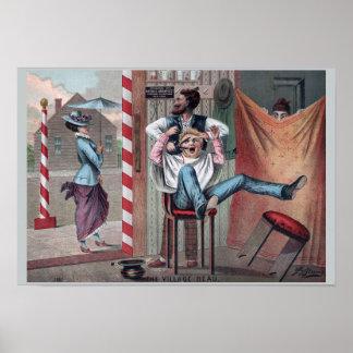 1882 humours vintages de raseur-coiffeur : Le beau