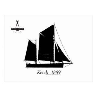 1889 ketch solent - fernandes élégants cartes postales
