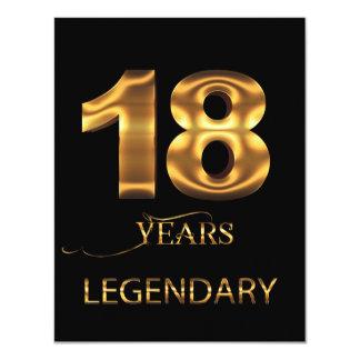 18 ans de carte légendaire carton d'invitation 10,79 cm x 13,97 cm