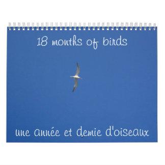 18 mois d'oiseaux calendriers muraux