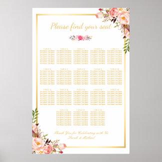 18 Tableaux épousant le cadre floral d'or de Poster