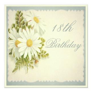 18ème anniversaire de marguerites vintages chics carton d'invitation  13,33 cm