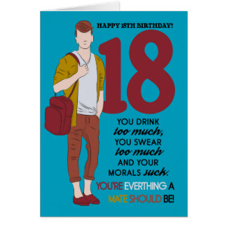 18ème Carte d'anniversaire, amusement et à la
