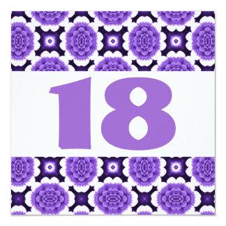 18ème Le pourpre de fête de fête d'anniversaire Carton D'invitation 13,33 Cm