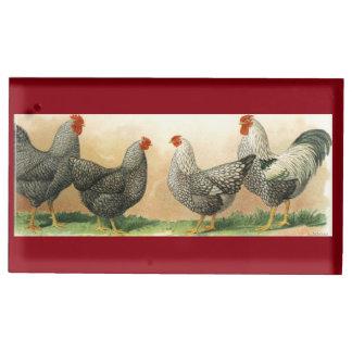 1913 poulets : Plymouth Rock et Wyandotte argenté Porte-carte De Table