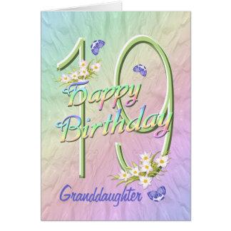 19ème carte de jardin de papillon d'anniversaire