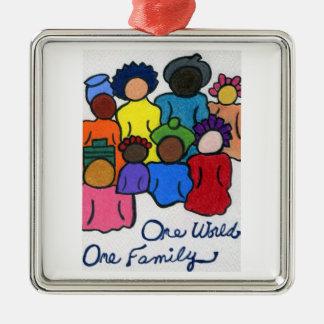 1 monde, 1 ornement d'arbre de vacances de famille