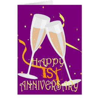 1st de champagneviering van de huwelijksverjaardag wenskaart