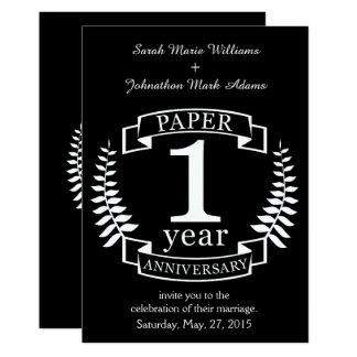1st het huwelijksverjaardag van het document 1 12,7x17,8 uitnodiging kaart