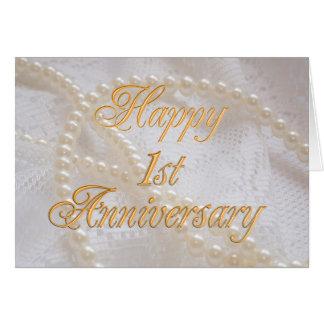 1st huwelijksverjaardag met kant en parels wenskaart