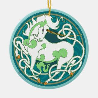 2014 ornement en céramique de licorne - vert/blanc