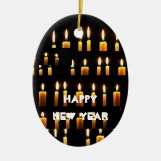 2017 décorations HEUREUSES de bougie de NEWYEAR Ornement Ovale En Céramique
