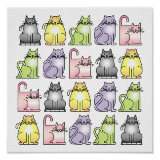 20 chats humoristiques de bande dessinée poster