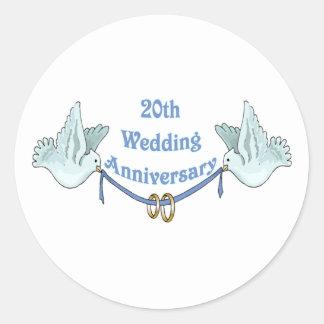 20èmes cadeaux t d'anniversaire de mariage sticker rond