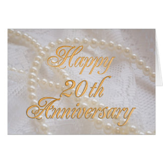 20ste huwelijksverjaardag met kant en parels wenskaart
