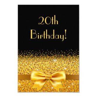 20ste verjaardagspartij op zwarte met gouden kaart