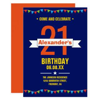 21ème fête d'anniversaire de typographie colorée carton d'invitation  12,7 cm x 17,78 cm