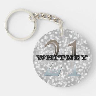 21ème nom argenté personnalisé de l'anniversaire | porte-clé rond en acrylique double face