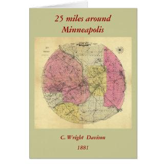 25 milles autour de Minneapolis - carte 1881