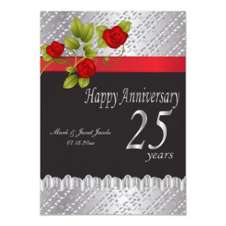 25ème anniversaire argenté heureux carton d'invitation  12,7 cm x 17,78 cm