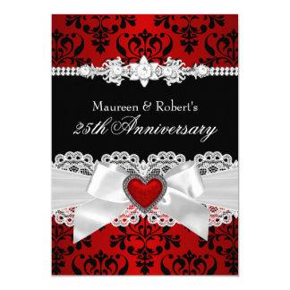 25ème anniversaire de damassé d'arc noir rouge de carton d'invitation  12,7 cm x 17,78 cm