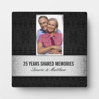 25ème anniversaire de damassé de cadre noir argent photos sur plaques