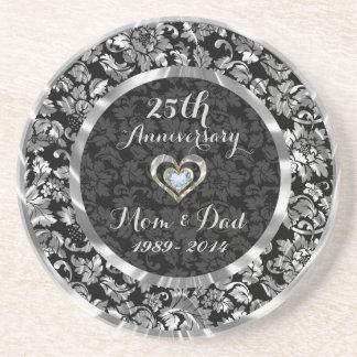 25ème anniversaire de mariage d'argent noir et dessous de verres