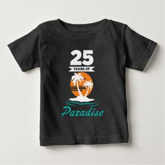 25ème anniversaire de mariage d'argent tropical de t-shirt pour bébé