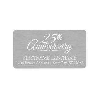25ème Anniversaire de mariage personnalisé Étiquette D'adresse