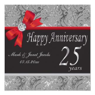 25ème Anniversaire de noces d'argent Carton D'invitation 13,33 Cm