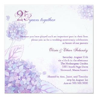 25ème anniversaire de noces d'argent d'hortensias carton d'invitation  13,33 cm