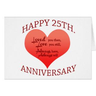 25ème anniversaire heureux carte de vœux