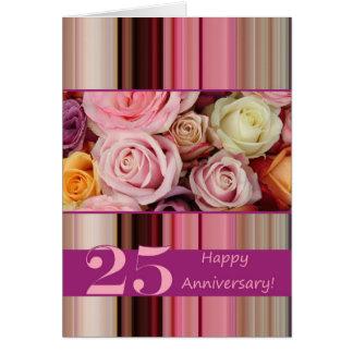 25ème Carte d'anniversaire de mariage - rayure en