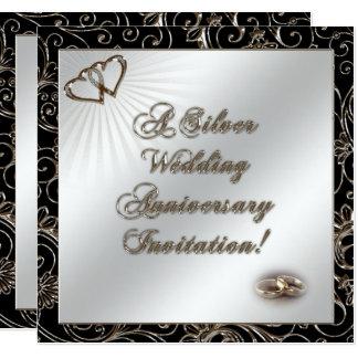25ème Carte d'invitation d'anniversaire de mariage Carton D'invitation 13,33 Cm