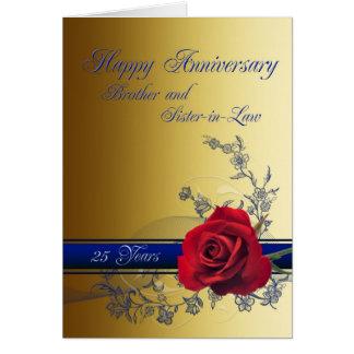 25ème Carte, frère et belle-soeur d'anniversaire Carte De Vœux