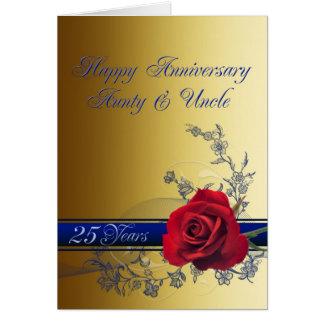 25ème Carte, tante et oncle d'anniversaire Carte De Vœux