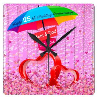 25ème Coeurs d'anniversaire de mariage avec le Horloge Carrée