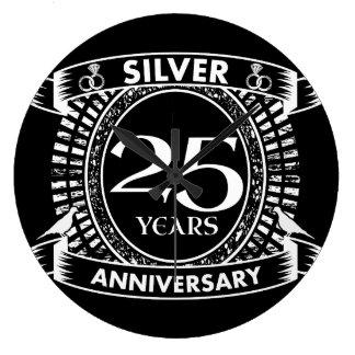 25ème crête d'argent d'anniversaire de mariage grande horloge ronde