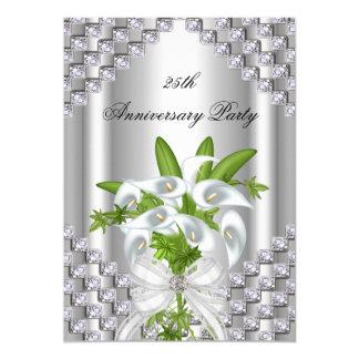 25ème fête d'anniversaire florale blanche argentée carton d'invitation  12,7 cm x 17,78 cm