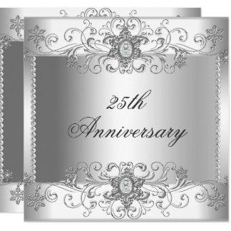 25ème Invitation blanche argentée de diamant
