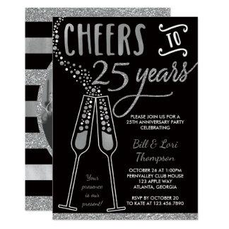 25ème Invitation d'anniversaire, argent, noir,
