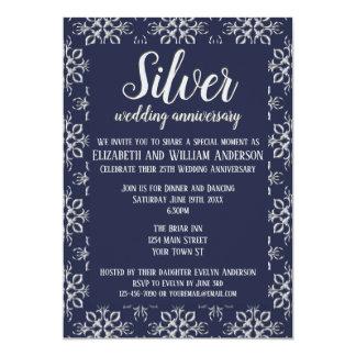 25ème invitation d'anniversaire d'argent bleu