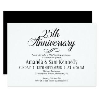 25ème invitation d'anniversaire de calligraphie