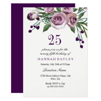 25ème invitation d'anniversaire de prune de rose