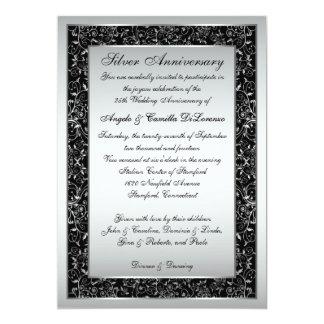 25ème invitation d'anniversaire de rouleau fleuri